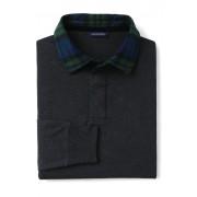 ランズエンド LANDS' END メンズ・ラグビー・ジャージー/チェックカラー/長袖/ネクタイ(ダークチャコールヘザー)