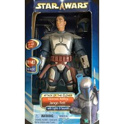 "Star Wars Attack Of The Clones 12"" Jango Fett Figure With Eletronic Sound Fx"
