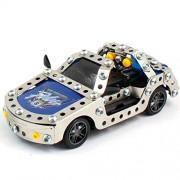 Coche Policia Rc Super Speed para Montar DIY | 142 Piezas | Kit tipo Meccano