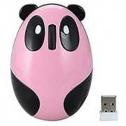 Sungwoo 2.4G Wireless Optical Mouse Rechargeable Wireless Mouse with Cute Panda Design - Designed Specifically for Women Girls Children (Pink)