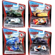 Disney Pixar CARS 2 Exclusive 1:55 Die Cast Car SILVER RACER Set of 4 with Nigel Gearsley, Miguel Camino, Raoul Caroule, Max Schnell, With Metallic Finish