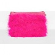 Missguided Pink Feather Clutch Bag, Pink