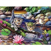 Bits and Pieces - 300 Piece Jigsaw Puzzle for Adults - On a Fishing Mission - 300 pc Kitten/Cat Jigsaw by Artist Brook Faulder