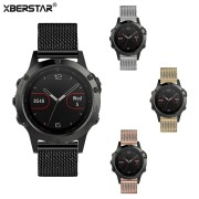 XBERSTAR Milanese Watchband for Garmin Fenix 5 Multisport GPS Watch Stainless Steel Watch Band Strap 4 Colors for fenix 5