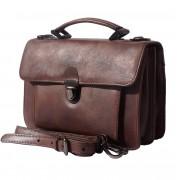 Florence Leather Market Mini cartella ventiquattrore con due scomparti e una tasca frontale in cuoio invecchiata (68038)