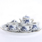 Gold Rimmed Blue Floral Pattern Ceramic Miniature Tea For Two Set For Tiny Tea Parties, Displays And Creating