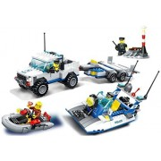 Police Search and rescue ship and police car building blocks 453pcs toy set - Coast guard city water patrol the cops chasing after a criminal in a speed boat - Compatible Parts - Great Gift