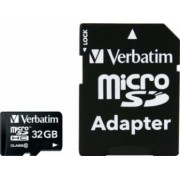 Card de Memorie Verbatim Micro SDHC 32GB Clasa 10 cu adaptor