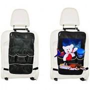 Mandala Crafts Child Car SUV Auto Kick Mat Kids Seat Cover Protector Travel Storage Organizer (Black Organizer Pack of 2)