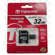 Micro SDHC card + Adapter (32GB class 10) Transcend Premium 200x
