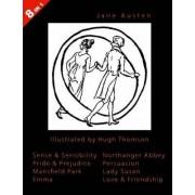 ILLUSTRATED Jane Austen - 8 Books In 1. Illustrated by Hugh Thomson. Sense & Sensibility, Pride & Prejudice, Mansfield Park, Emma, Northanger Abbey, Persuasion, Lady Susan, and Love & Friendship. by Jane Austen