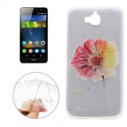 For Huawei Y6 Pro Flower Pattern Transparent Soft TPU Protective Back Cover Case