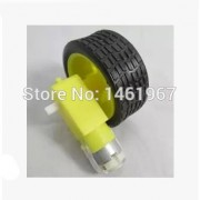 Generic 4sets DC 3V-6V Deceleration Biaxial DC motor + supporting wheels , Smart Car Tire Wheel with Gear Motor Dual Shaf