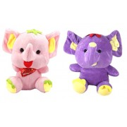 Tickles Pink, Purple Cute Elephants Stuffed Soft Plush Toy Love Girl 17 cm