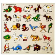 Skillofun Alphabet Animal Puzzle Tray with Picture and Knobs