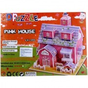 Lionsland Girly Pink House 3D Construction Puzzle Toy for Kids -Attention Building -Easy to Assemble-Min Age-3 Years