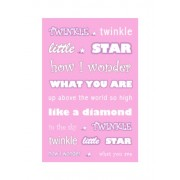 "Feel Good Art - Tela A4 in canvas ""Twinkle, Twinkle, Little Star "", per la cameretta del bambino, colore: Rosa"