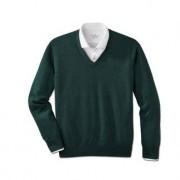 Alan Paine Merino-V- oder -Rundhals-Pullover, 48 - Grün-Meliert - V-Pullover