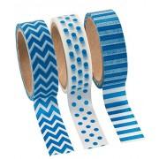 Blue Washi Tape Set - 16 Ft. Of Tape Per Roll (3 Rolls Per Unit)