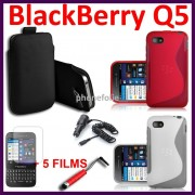 Blackberry Q5 : Coque Etui Housse Lot Pack 10 Accessoires Tpu Silicone Gel Ligne S Films Chargeur Voiture Allume Cigare Stylet Tactile Rouge Pochette Push-Up