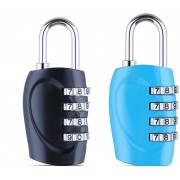 DOCOSS Set Of 2-4 Digit Small Bag Brass Locks Travel Luggage Resettable Combination Password Safety Lock(Multicolor)