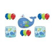 Ahoy Baby Whale Boy Shower Blue Mylar Latex Balloon Set Bouquet