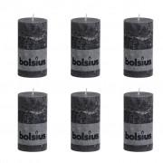 Bolsius Rustic Pillar Candle 130 x 68 mm Smoky Grey 6 pcs