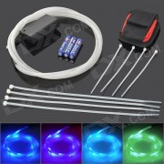 Decorative Flexible LED 4-Mode Colorful Light Strip for Bicycle - White + Black (3 x AAA)