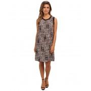 Calvin Klein Printed Rib Trim Dress Beige Windowpane 2941