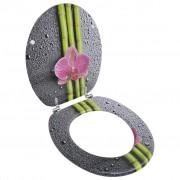 vidaXL Седалка за тоалетна чиния с капак от MDF, дизайн бамбук и цветя