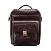 Herren Leder Schultertasche in Dunkelbraun - Aktentasche, Umhängetasche, Businesstasche, Laptoptasche