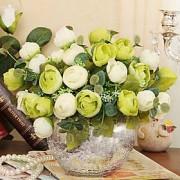 LightInTheBox 8,6 de style moderne h simulation de tissu de soie roses dans un vase en verre argent