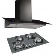 GLEN Glen Cooker Hood (Chimney) 6077 Black 1000BF 60cm LTW + BUILT IN HOB 1074 TR GLASS ( COMBOS ) Wall Mounted Chimney(Black 1000)