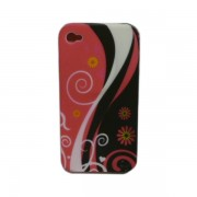 Funda Silicon Rigido Rosa con Negro Iphone 4G / 4S