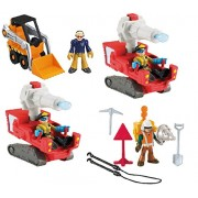 Fisher-Price Imaginext Adventure City 4 Men Figure Bundle Construction Worker, Front Loader, and 2 Flame Buster Firefighters