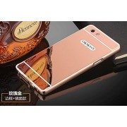 AE (TM)Premium Luxury Metal Bumper Acrylic Mirror Back Cover Case For Oppo F1s - ROSEGold