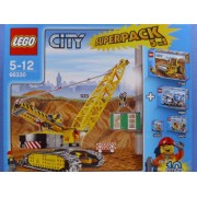 LEGO CITY 66330 Super Pack incl. Sets: City Crawler Crane 7632 - City Single-drum Roller 7746 - City Cement Mixer 7990 - Mini Figure Street Cleaner 5620 - MiniFigure Collection 8401