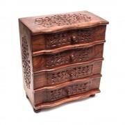 Dulap, din lemn, cu 4 sertare, model sculptat cu flori