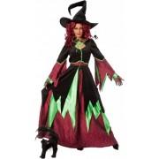 Halloween Heksen kostuum groen/rood vrouwen 42 (xl)