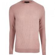 River Island Mens Pink textured knit slim fit jumper