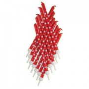 12 Red Candles With White Polka Dots