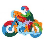 Smile Baby YKK juguete 3d de puzzles de madera de construcción construcción Madera Puzzle multicolor Motorrad Talla:Größe:26cm*20cm