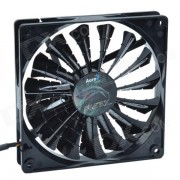 AEROCOOL 15-Blade 1.56W Mute Model Computer CPU Cooling Fan - Black (7V / 14 x 14cm)