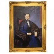 Huge Handmade Baroque Oil Painting Monsieur Noblesse Gold Huge Frame 220 X 160 X 10 Cm - Solid Material