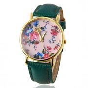 Mulheres Relógio de Moda Quartz PU Banda Flor Preta / Branco / Vermelho / Marrom / Verde / Rose / Ouro Rose marca-