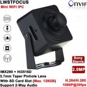 Sony Starvis 2MP Mini IP Camera pinhole 3.7mm lens 1080P Wifi CCTV Network Cam Support 2-Way Audio Alarm SD Card lot Max 128G