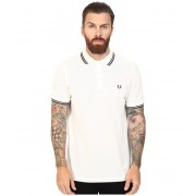 Fred Perry Slim Fit Twin Tipped Fred Perry Polo Snow WhiteRacing Green