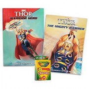 Marvel Thor Jumbo Coloring and Activity Books (Set of 2 - 96 Pages each) with Crayola Crayons 24ct