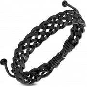 Leren armband Braided Black fwb065
