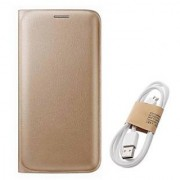 Lava A76 Flip cover With Micro Usb Cable-Color May Vary